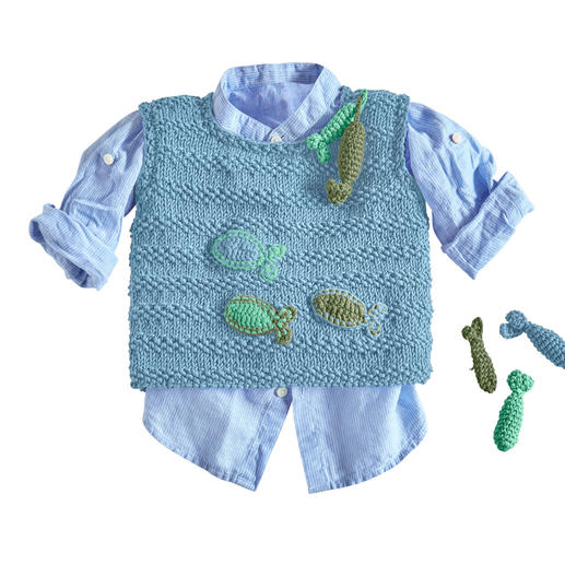 Anleitung 192/0, Baby-Pullunder mit gehäkelten Fischen aus Cotone-Emozione von Junghans-Wolle