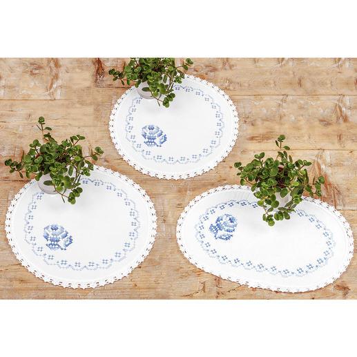 3 Deckchen - Blaue Rosen im Set
