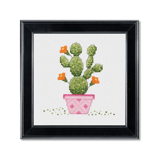 Stickbild - Kaktus im pinken Topf