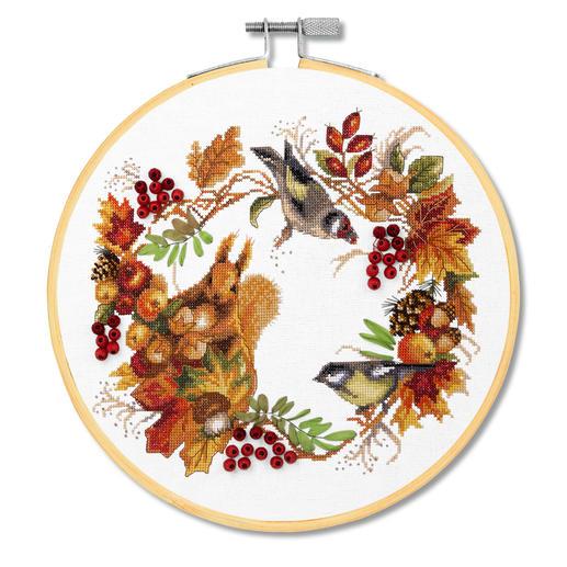 Stickbild - Herbstkranz