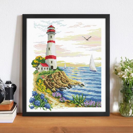 Stickbild - Leuchtturm-Kap No count cross stitch
