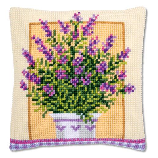 Kreuzstichkissen - Lavendel