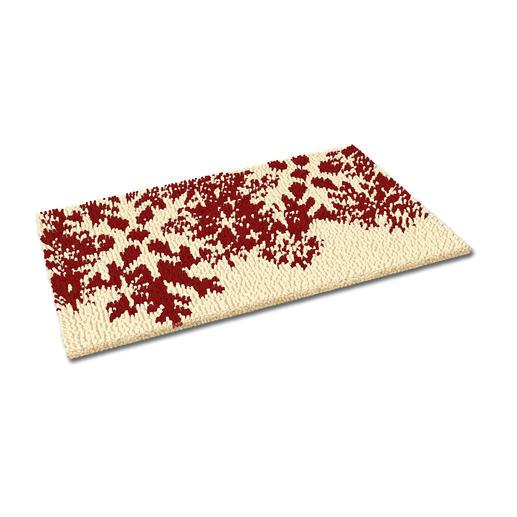 Fussmatte - Schneeflocken, rot