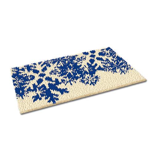 Fussmatte - Schneeflocken, blau