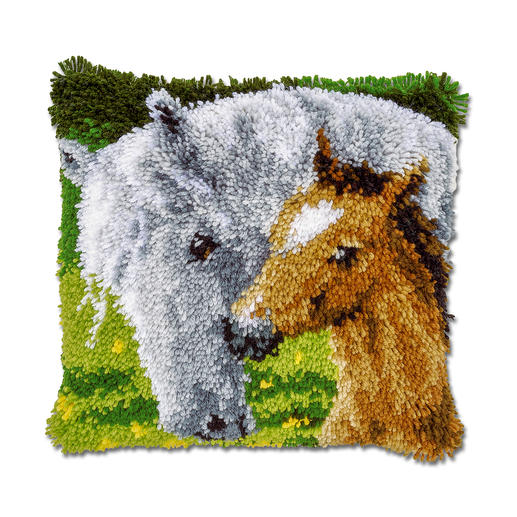 Knüpfkissen - Pferd & Fohlen